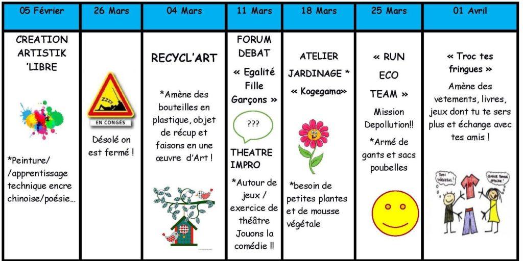 Programme mercredi pré-ados Février Avril 2020