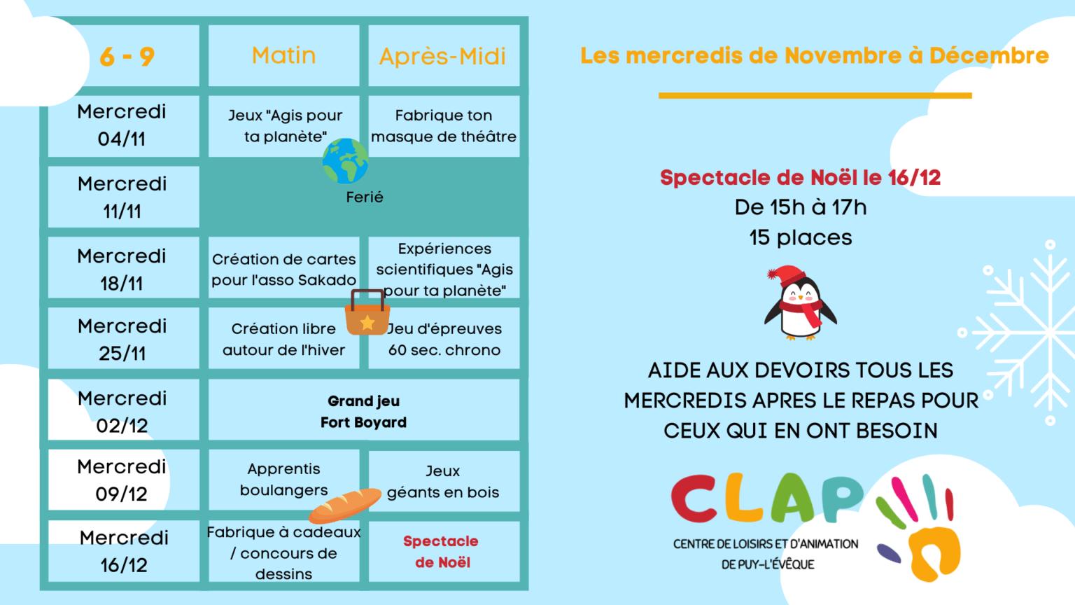 Programme des mercredis de Novembre à Décembre enfants de 6 à 9 ans