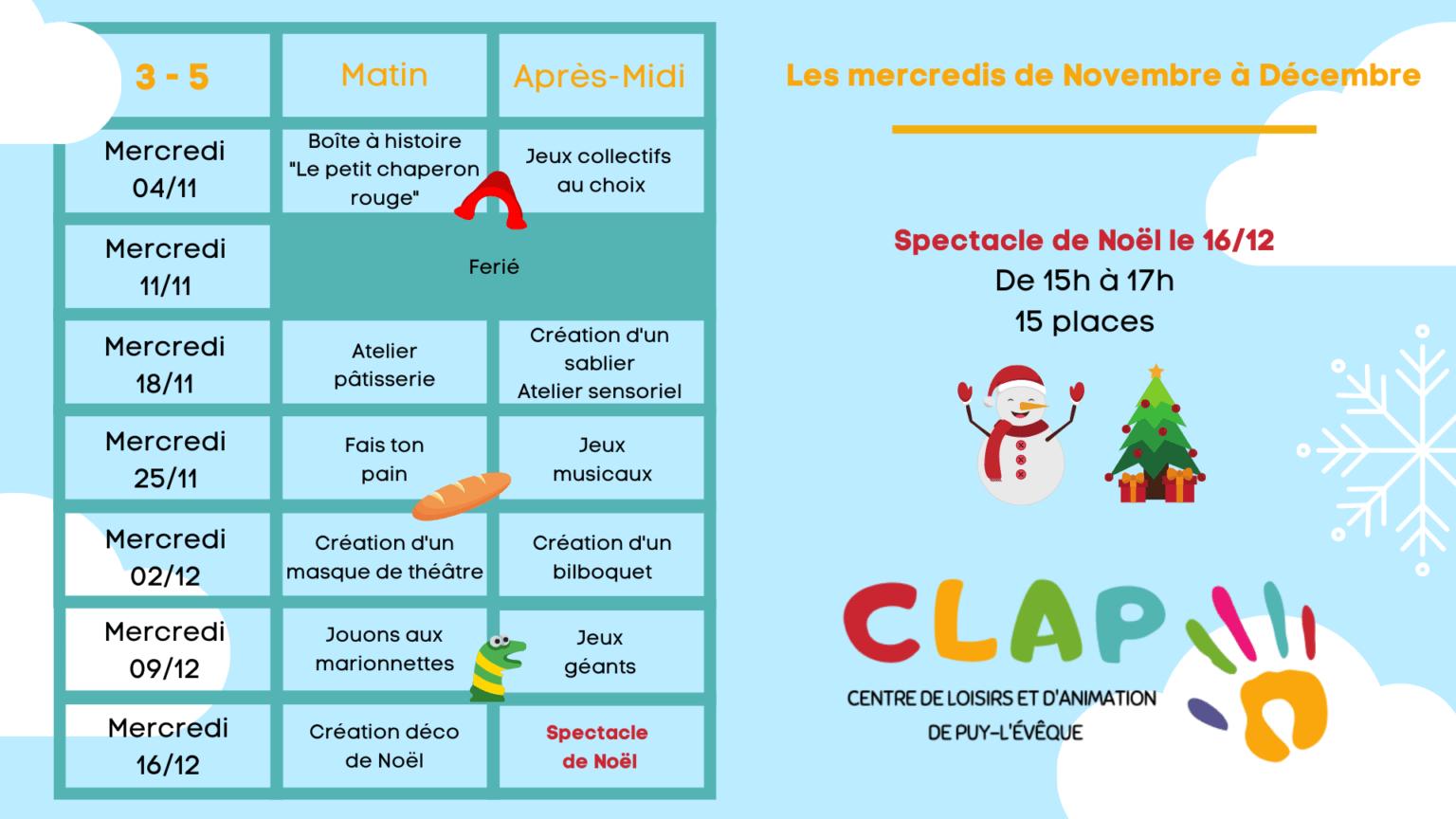 Programme des mercredis de Novembre à Décembre enfants de 3 à 5 ans