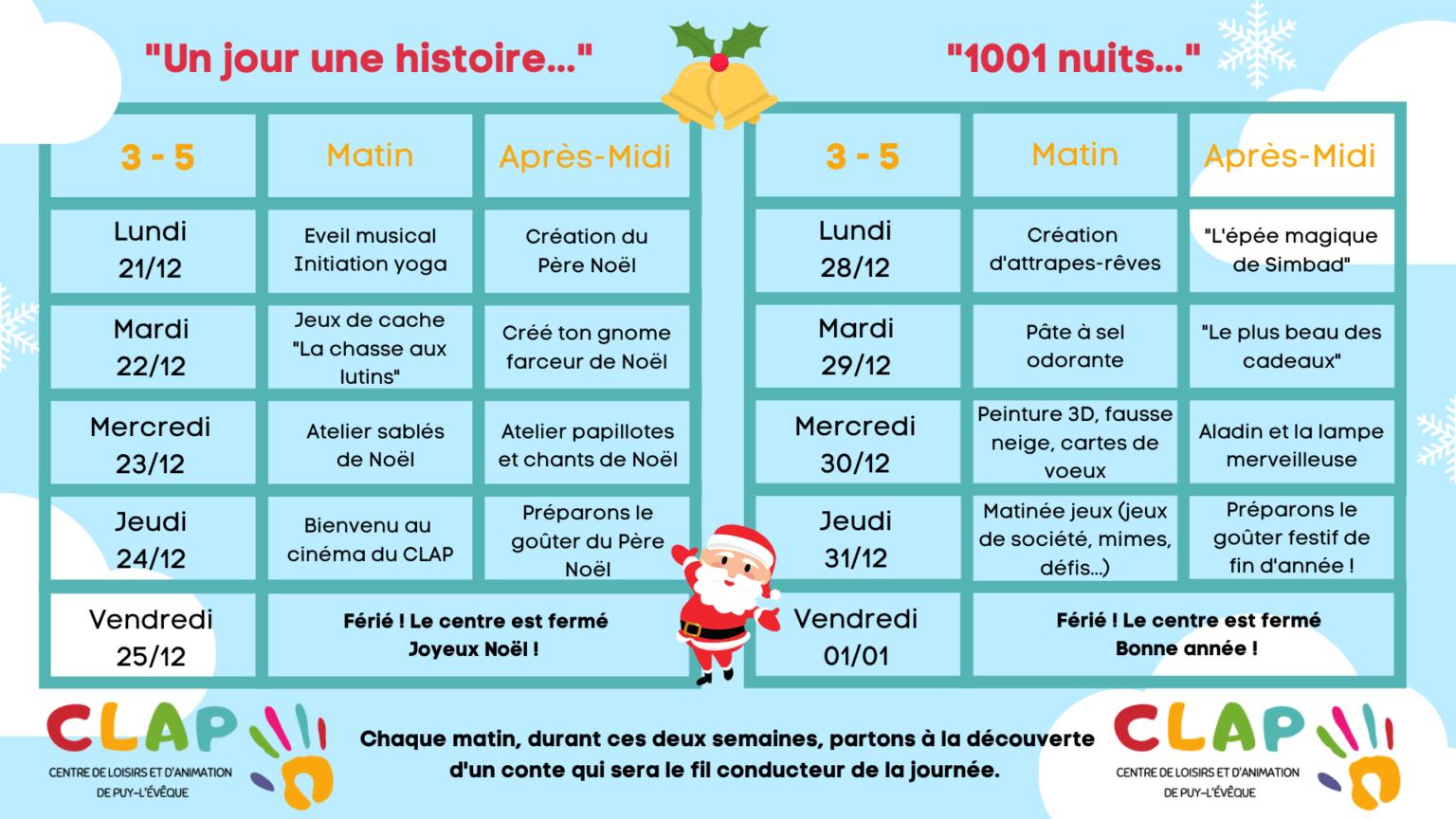 Programme des vacances de fêtes de fin d'année pour les enfants de 3 à 5 ans