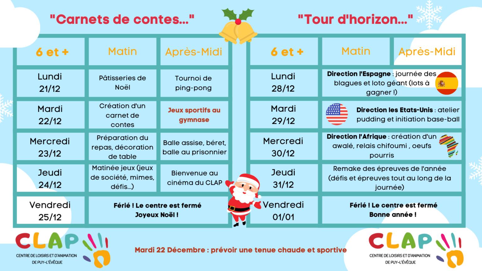 Programme des vacances de fêtes de fin d'année pour les enfants de 6 ans et plus