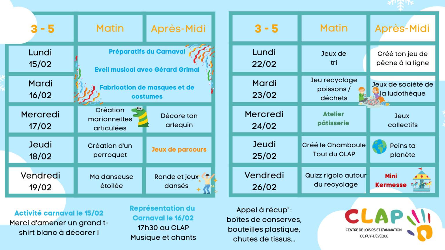 Programmes des vacances de Février enfants de 3 à 5 ans