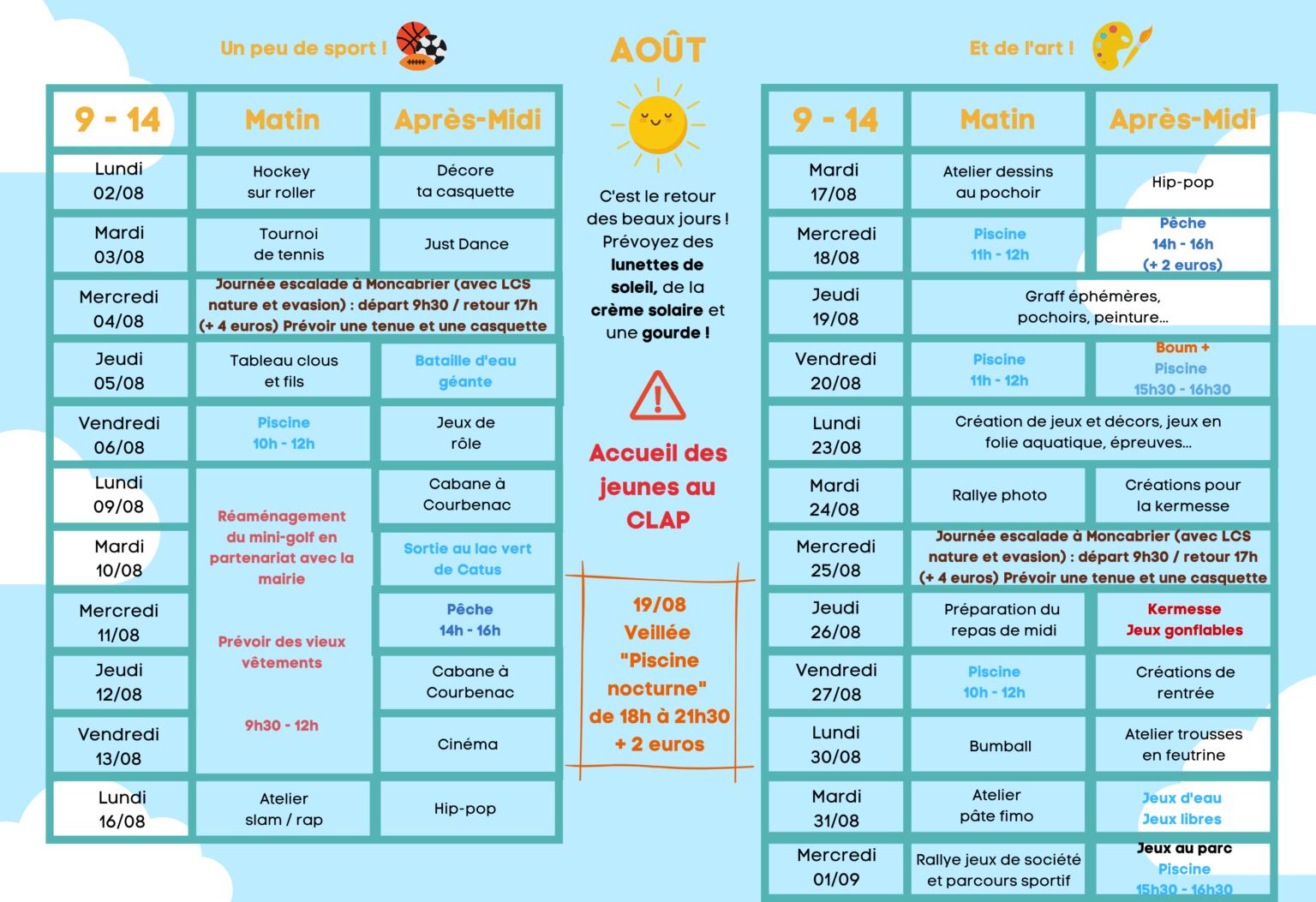 Programmes d'Août pour les enfants de 9 à 14 ans