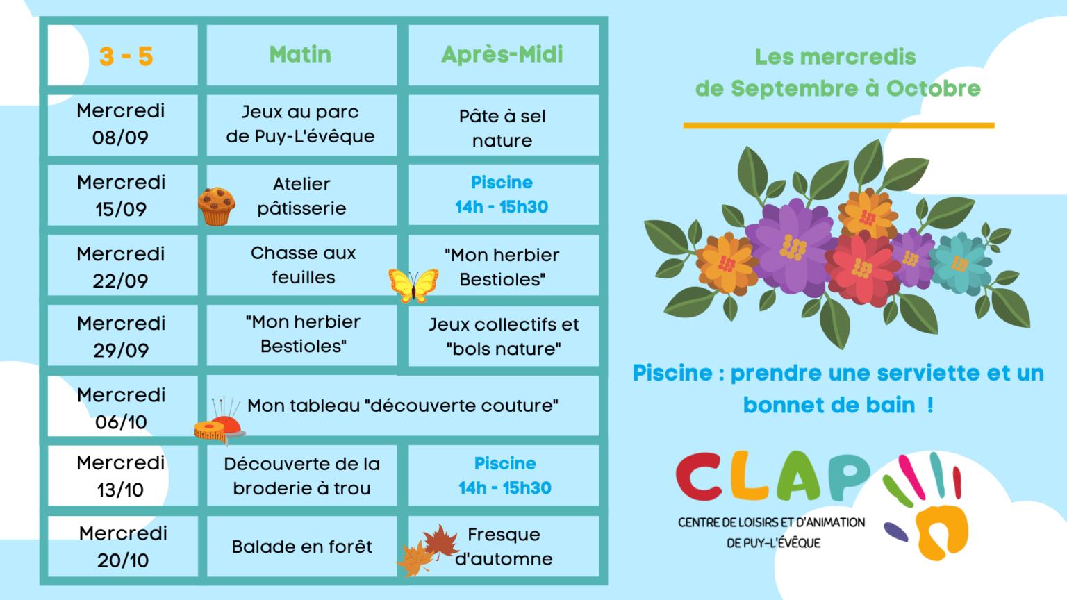 Programmes des mercredis de Septembre à Octobre pour les enfants de 3 à 5 ans
